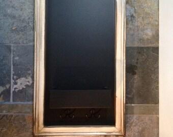 Vertical Chalkboard Shabby chic frame narrow Mail pocket and Key hooks