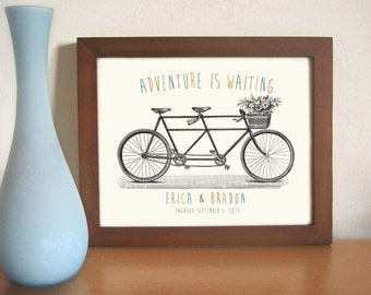 Personalized Engagement Gift Personalized Wedding Gift Art for Couples Bicycle For Two Tandem Bicycle For Couples Adventure is Waiting