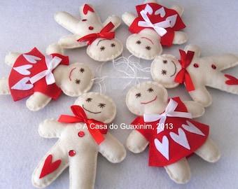 Set of 3 Gingerbread Couple - Christmas ornaments