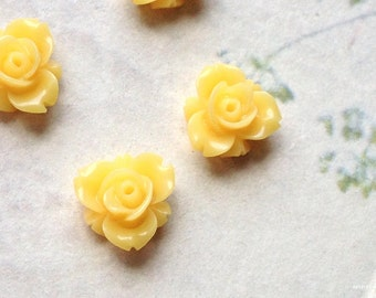 12 mm Yellow Colour Resin Rose Flower Cabochons (.sm)