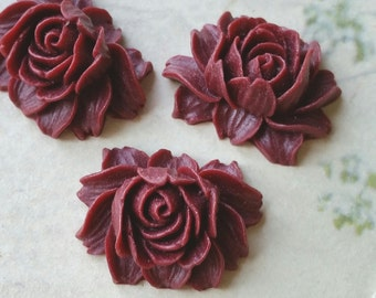 25 x 20 mm umber red Color Resin Flower Cabochons  (.ng) (zzb)