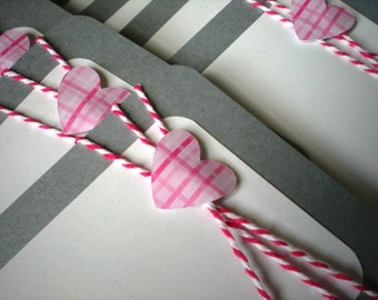 Valentines Day Cards set of 12 with Envelopes-Pink Plaid Hearts and Be My Valentine