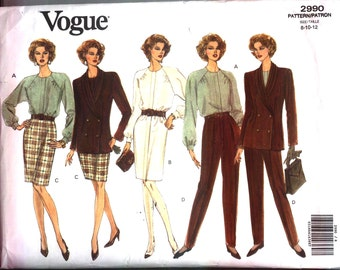 1992 Vogue 2990 Easy WARDROBE PATTERN Misses 8-10-12  Vintage 1992 Uncut Factory Folded Nice