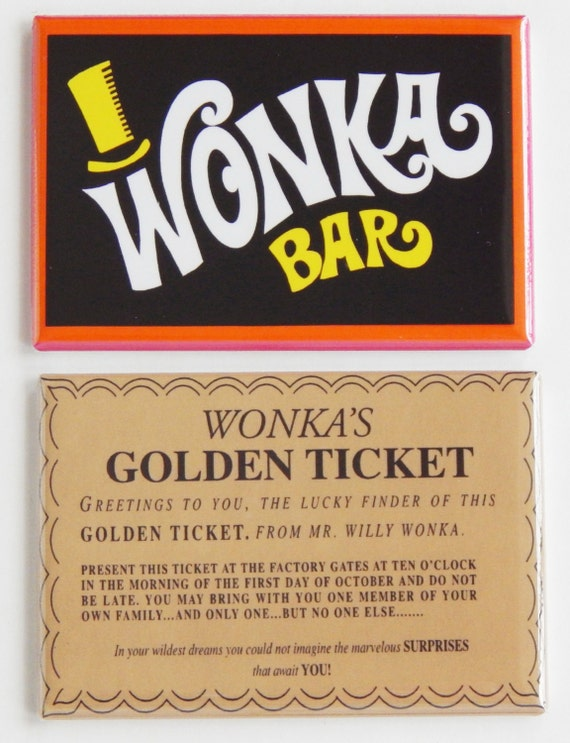 Wonka Bar & Golden Ticket Fridge Magnet Set by BlueCrabMagnets