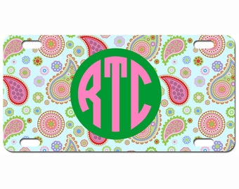 Monogrammed Car Tags | Design Your Own Personalized License Plate - The Lilly Paisley Preppy Tag