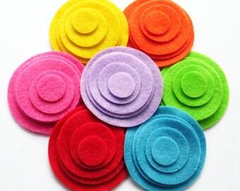 Felt Circles Shapes Raimbow, set of 35 pieces, felt shapes, felt die cut,