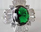 Spectacular Faux Emerald and Diamond Coctail Ring, Marked 925.     SALE
