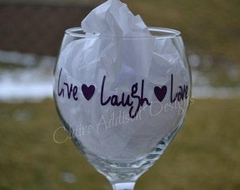 Personalized Wine Glasses - Live, Laugh, Love