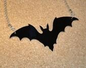 BLACK BAT Pendant Bead Chain Necklace Emo Punk Halloween Vampire