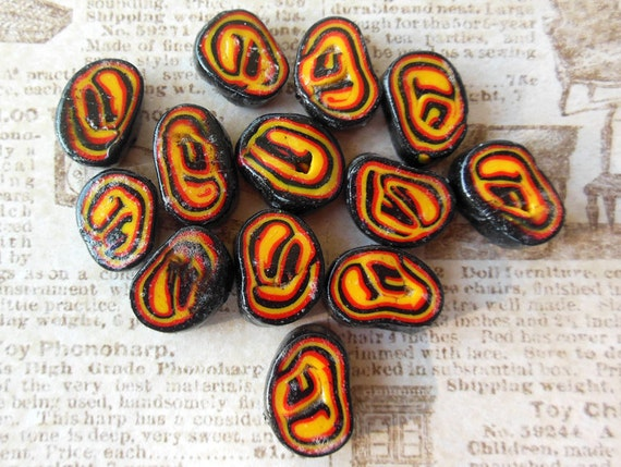 Apple Red Sunflower Yellow And Black Flat Beads Unique