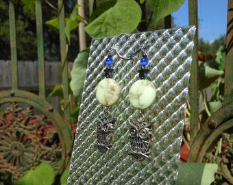 Owl, Moon and Stars beaded earrings