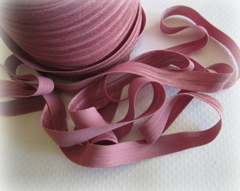 Rose Pink Fold Over Elastic, 5/8 FOE. 5 Yards.  SFOE-3014