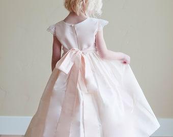 Flower girl dress, silk flower girl dress, blush pink flower girl dress lace sleeves flower girl dress,