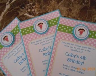 Dora The Explorer Birthday Invitations-Dora Invitation-Dora Birthday-Dora Party-Dora the Explorer Invite-Dora Birthday Invitation