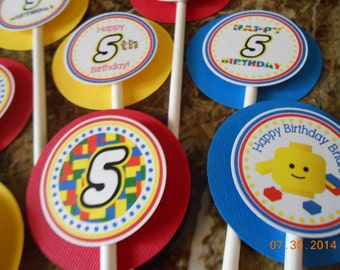 Building Blocks Cupcake Toppers-Building Blocks Toppers-Building Blocks Birthday Decoration-Building Blocks Party Decoration