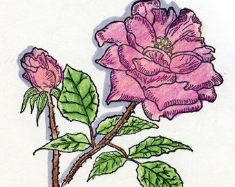 Unmounted Rose Rubber Stamp