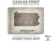 Pennsylvania Map Stretched Canvas Print - Home Is Where The Heart Is Love Map - Original Personalized Map Print on Canvas