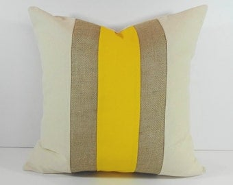YEllow and Burlap Pillow Cover, Decorative Pillow Cushion, 14 x 14