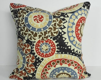 Red, Blue, Brown Decorative Pillow Cover, Geometric Throw Cushion, 20 x 20