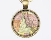 Idaho, United States Map Necklace - State of Idaho -Custom Vintage Map Series