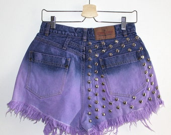 Denim Cutoff Shorts - High Waisted, Dip Bleached, Dyed Magenta Pink, Silver Round Studded, Slashjed and Frayed Denim Shorts