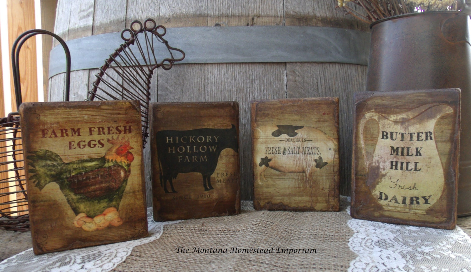 Reserved For Jennie Farmhouse Kitchen Signs Wood Plaques Set