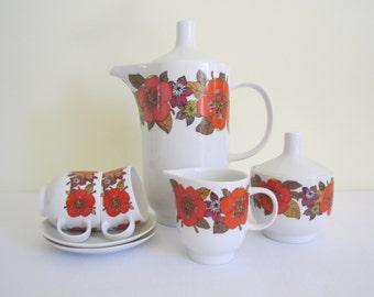 RETRO HUTSCHENREUTHER coffee set - 9 pieces, German porcelain, demitasse cups