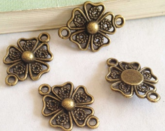 Connector Charms -30pcs Antique Bronze Flower Necklace Connector Charm Pendants 15x20mm F505-2