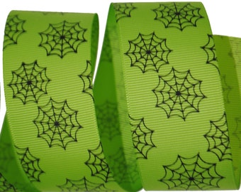 Spiderwebs Apple Green with Black Grosgrain Ribbon 1.5 inches wide