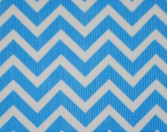 Blue and White Horizontal Chevron Print 2.25 inch wide