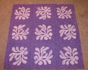 Purple Arabesque hand applique quilt top
