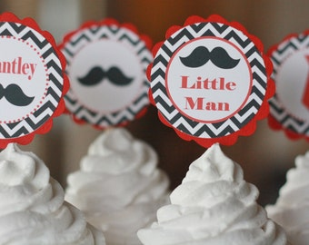 "12 - Little Man ""Oh Boy"" Bowtie OR Tie Black White & Red Theme Baby Shower Cupcake or Cake Toppers- Ask About our Party Pack Sale"