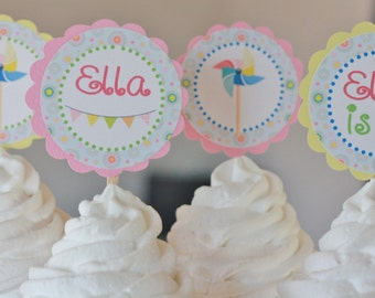 12 Pink Yellow Green Blue Pinwheel Rainbow Girly Theme Birthday Cupcake Toppers or 2 Cake Toppers - Party Pack Sales - Free Ship Over 65.00