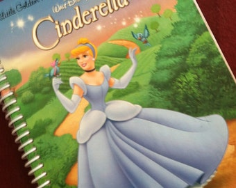 CINDERELLA  Journal Spiral  Notebook Book Little GOLDEN Book- Recycled Upcycled - Covers Only