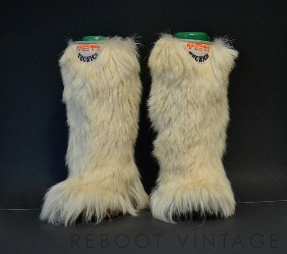 6 Super Rare 1970s Yeti Boots Long Goat Fur Apres Ski Moon