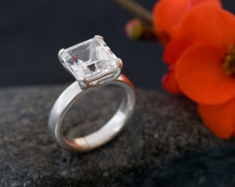White Topaz Ring - White Topaz engagement Ring - Square White Topaz Ring set in Sterling Silver - Made To order - FREE SHIPPING