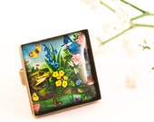 Bird Ring, Flower Ring, Statement Ring, Glass Ring, Bird Jewelry, Floral Ring, Square Ring, Gift For Her, Nature Inspired, Colorful Ring