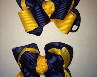 Michigan Wolverines bows navy blue and yellow