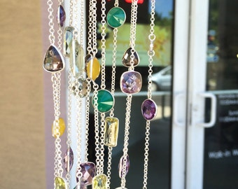 Beautiful sterling silver necklace mixed with all natural semi precious stone 36 inches long