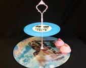 2 tier Picture Vinyl Record Cupcake Cake Stand - Pink Blue - Motown Soul Party nights