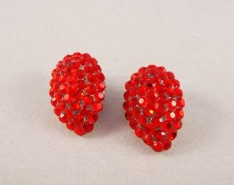 Vintage Red Rhinestone Clip Earrings