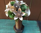 Camo Steampunk Paper Flower Arrangement in bolt vase