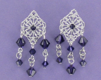 CHANDELIER EARRINGS - Silver Plate and Purple Swarovski Crystal on Posts