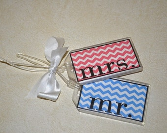Mr and Mrs Luggage Tags, Personalized Tags, Tags Customized, His and Her Travel Bag Tags, Handmade Luggage Tags