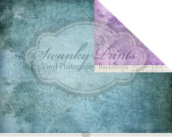 NEW / 5ft x 7ft REVERSIBLE Vinyl Backdrop / Double sided / Purple Grunge Ecru Blue Grunge with BASEBOARDS