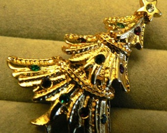 vintage jewels ...  CHRISTMAS TREE jewel of a  BROOCH Pin   ...
