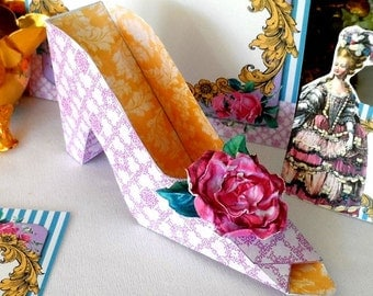 Marie Antoinette Shoe Favor Box DIY Instant Download Printable File