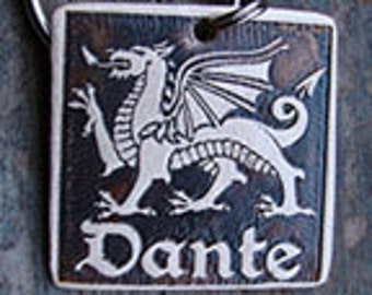 Welsh Dragon Pet Tag, Dog ID Tag - 1.25 inch Square