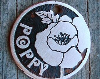 Dog ID Tag, Poppies Pet Tag, Flowers Dog Tag, Custom Pet ID Tag, 1 inch