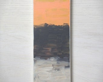 Abstract 1149 |  Original Fine Art by Crystal Henson | 4 x 12 Grey Mustard Cream Coral FREE DOMESTIC SHIPPING